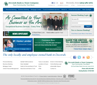 Decorah Bank Website Design and Development by Prime Concepts