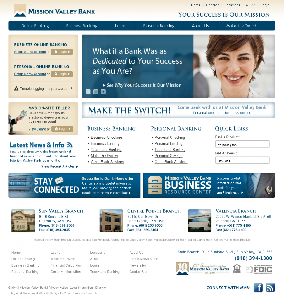 Mission Valley Bank Website Design and Development
